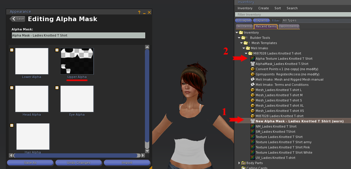 1.  Right Click and Edit the Alpha Mask garment (worn).  The window on the left will open.  2. Drag the Alpha Mask texture to the proper window.  Click to Save the garment.  Notice the area that has been 'masked' on the avatar.