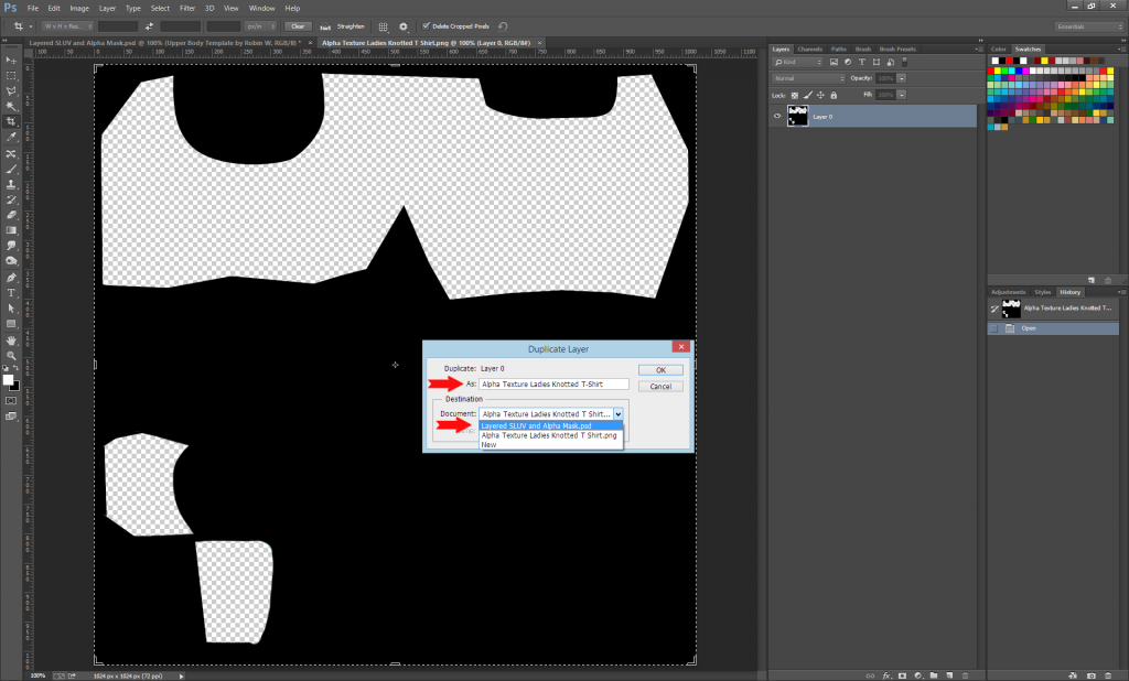 1. Save SL Avatar Top Layers.psd as Layered SLUV and Alpha Mask.psd 2. Select any Layer, and Merge Visible. 3. Open the Alpha Mask File, Duplicate the Layer to Layered SLUV and Alpha Mask.psd