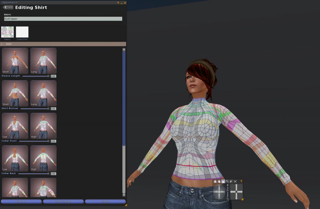 Inventory, right click folder where you want it, New Clothes, New Shirt, Name it, Wear it, Edit it.  Apply the SLUV PNG file you just saved, and adjust the settings as shown.