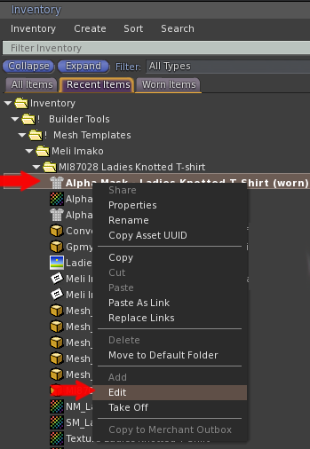Right click the garment in the Inventory window, and chose Edit.