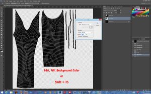 Edit, Fill, Background Color, OR Shift F5, Background Color. (You may use any color, it won't show on the garment.)