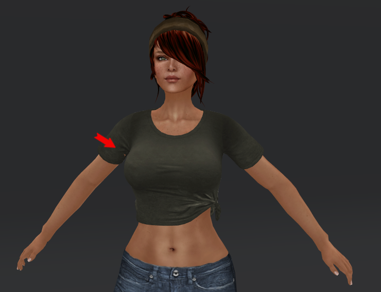 Initially the t-shirt looks fine, but on closer inspection, you will see a bit of skin poking through on the bottom of the arm.  Use camera controls to view from all angles.  Let your avatar move freely, with your AO on, watching for more problem areas.